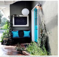 Blue Door Inspiration for a Eclectic Exterior with a Chalkboard Chalkboard Paint Projects, Black Chalkboard Paint, Chalkboard Walls, Chalkboard Paper, British Colonial Style, Front Entrances, Interior Photography, Coastal Style, Exterior Colors