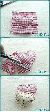 Sewing Hacks, Sewing Crafts, Sewing Projects, Valentine Crafts, Valentines, Fabric Hearts, Heart Crafts, Fabric Scraps, Needlework