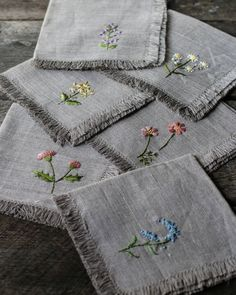 hand embroidered linen tea towels SPRING themed flax linen, meadow flowers embroidered