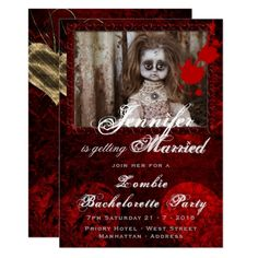 ZOMBIE BRIDE DOLL Bachelorette Party Halloween Card