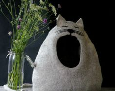 """Cat Bed, Cat House, Cat Cave, Felted Cat Bed - """"Sleepy cat"""", Cat, Cat Lover gift by Indre Naujokiene"""