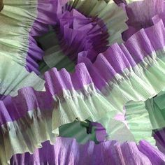 Lavender and Sea Foam Green Ruffled Crepe Paper Streamers - Party Decoration - Craft and Party Supplies
