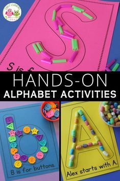 Use letter activities like letter collages or letter mats to teach letter identification and reinforce letter-sound associations. Here are over 200 material ideas that you can use for your collages or letter mats. A printable reference list is included. Preschool Activities At Home, Pre K Activities, Preschool Learning Activities, Preschool Lessons, Kids Learning, Alphabet Activities For Preschoolers, Activities For Children, Letter H Activities For Preschool, Letter Identification Activities