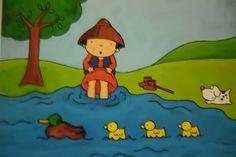 Verdrietig stapte Elias verder, tot hij bij een rivier kwam. Hij trok zijn schoenen uit en stapte in het water. Aan de eendjes die voorbij zwommen vroeg hij of ze zijn schaap hadden gezien. Maar nee, ook zij hadden niks gezien.