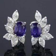 Blue Sapphire Earrings Sterling Silver / Silver Sapphire Earrings Stud......Uploaded by www.1stand2ndtimearound.etsy.com