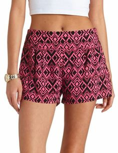 Stacked High-Waisted Ikat Print Shorts: Charlotte Russe