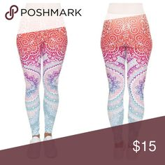 NEW Ombre Leggings Coming soon!  NEW Ombre Leggings Blue, purple, pink, and orange with lotus flower and abstract spiral design Great for yoga, working out, or everyday wear  PRICE IS FIRM | NO OFFERS PLEASE Pants Leggings
