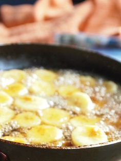 Finished Bananas Flambe, Impress your guests with this easy dessert that just looks fancy.