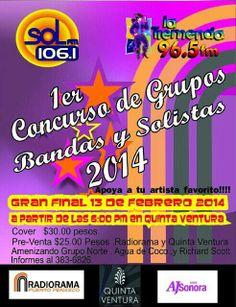 Jueves 13 de Febrero: 1er Concurso de Bandas y Solistas 2014 en Quinta Ventura 6pm