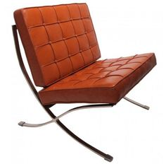 Barcelona Chair In cognac Leather by Mies Van Der Rohe
