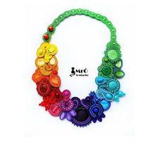 Big necklace in rainbow colors, soutache. OOAK !!! Collana soutache, colier soutache.