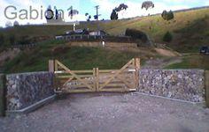 gabion entry gates made from 4 kitset gabions 1500 x 1500 x 450mm using heavy duty 4.5mm welded mesh http://www.gabions.co.nz
