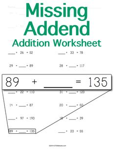 Customizable and Printable Missing Addend Addition Worksheet
