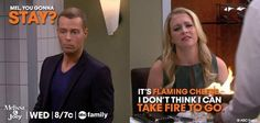 """Mel: """"It's flaming cheese. I don't think I could take fire to go."""""""