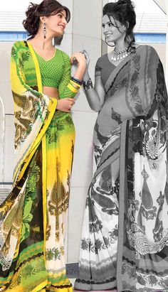 Buy Designer Georgette Sarees Online in India Saree Blouse, Sari, Usa People, Ethnic Dress, Georgette Sarees, Printed Sarees, Churidar, Indian Ethnic, Sarees Online