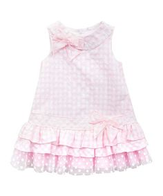 Light Pink & White Seersucker Ruffle Dress - Girls