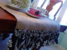 Sis Boom Burlap Table Runner by HouseAcrossTheStreet on Etsy, $32.00