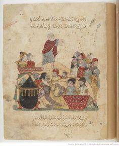 Folio 95 Recto: maqama 31. Abu Zayd and pilgrims