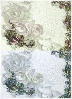 Ricepaper for Decoupage Decopatch Scrapbook Craft Sheet A/3 Roses on Crackle 2