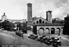 Piazza Sant'Ambrogio con i tram, anni 30   da Milàn l'era inscì