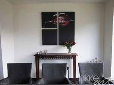 Foto op canvas fles en glas met rode wijn