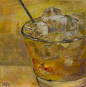 Cocktails Art - Burbon on the Rocks by Sue  Darius