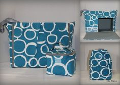 Choose your lining, Teal white circles Maryssa Breast Pump Bag for Spectra S1 or S2 pumps with zipper top closure and cooler bag by EllaAlana on Etsy