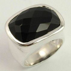 925 Sterling Silver Men's Jewelry Natural BLACK ONYX Gemstone Ring Size US 5.75 #Unbranded Black Tourmaline Ring, Silver Jewellery Indian, Chunky Rings, Black Onyx Ring, Silver Man, Sterling Silver Jewelry, Gemstones, Natural, Men's Jewelry