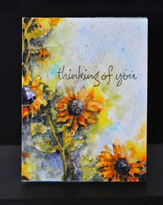 Thinking Of You....gorgeous water colored card by Sanketi using Penny Black stamp