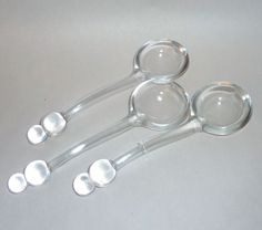 "Three 1940's Clear Glass Candlewick Mayonnaise / Condiment 6"" Spoons"