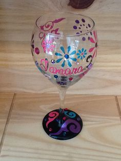 Custom Hand Painted Wine Glass with Rhinestones by brandiedmonds, $22.95