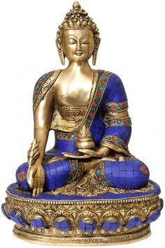 Tibetan Buddhist Deity Medicine Buddha, Buddhist Brass with Inlay Statue Buddha Buddhism, Buddha Art, Tibetan Buddhism, Buddha Decor, Statues, Buddha Sculpture, Little Buddha, Buddha Painting, Indian Gods