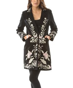 Look what I found on #zulily! PAPARAZZI Black & Pink Floral Embroidered Button-Up Jacket - Women by PAPARAZZI #zulilyfinds