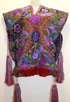 Hand Embroidered Mexican Poncho sarape made in by ChiapasbyJUBEL