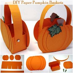 DIY Paper Pumpkin Baskets | http://www.diycomfyhome.com/diy-paper-pumpkin-baskets/ As Halloween approaches everyone is getting ready to send their kids off trick-or-treating. Buying stylish baskets for candy can be expensive so why not create your own DIY Paper Pumpkin Baskets. They not only work great but it also makes really great Halloween decoration. Enjoy!