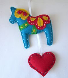 Eco Felt Dala Horse Plush Wall Hanging Cute MADE by lovahandmade