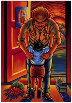 Simon Silva - Amor de padre - 24 X 1994 An homage for all our fathers whom by working a job that very few want to do, show us that they love us. A father's love can come in many ways that go unnoticed and un appreciated Mexican Artwork, Mexican Paintings, Mexican Folk Art, Owl Paintings, Hispanic Art, Latino Art, Mexico Art, Aztec Art, Chicano Art