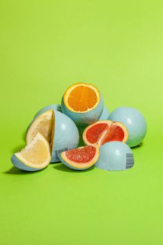 "Painted citrus fruits from Enrico Becker's series titled ""GMF Fruits"""