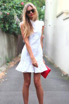 little wite dress + red lipstick. #love