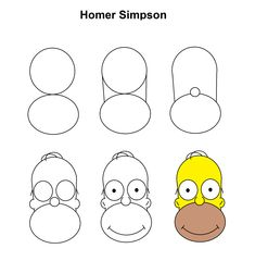Homer Simpson step-by-step tutorial. - Hommade -You can find Homer simpson and more on our website.Homer Simpson step-by-step tutorial. Simpsons Drawings, Easy Cartoon Drawings, Cute Easy Drawings, Pencil Art Drawings, Doodle Drawings, Art Drawings Sketches, Disney Drawings, Doodle Art, Homer Simpson