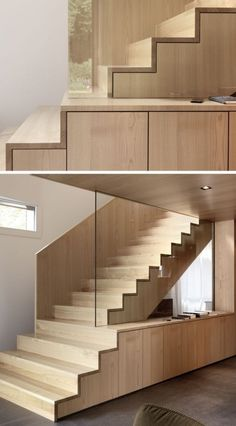 18 Examples Of Stair Details To Inspire You // These wood stairs are made entirely of chestnut, and one stair tread seamlessly becomes a sideboard. Rustic Stairs, Wooden Stairs, Stairs Architecture, Architecture Design, Stairs In Kitchen, Wooden House Design, House Design Pictures, Contemporary Stairs, Stair Detail