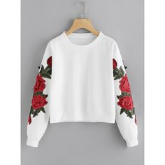 Rose Embroidered Applique Sweatshirt (615 DOP) ❤ liked on Polyvore featuring tops, hoodies, sweatshirts, multicolor, floral embroidered sweatshirt, embroidered top, floral crop tops, cropped sweatshirts and embroidered sweatshirts