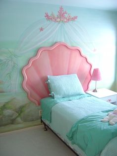 The most beautiful little girl's room I have ever seen!  http://www.etsy.com/listing/94455520/mermaid-shell-headboard-and-custom?ref=sr_gallery_2_ex=etsy_finds_ref=etsy_finds_filters=housewares+gift_search_type=all_view_type=gallery    Mermaid Shell Headboard and Custom Bulletin Board. $1,200.00, via Etsy.