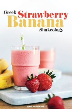 Try this yummy strawberry banana smoothie recipe made with greek yogurt for any day this week. Blackberry Smoothie, Strawberry Banana Smoothie, Apple Smoothies, Healthy Smoothies, Eat Healthy, Healthy Desserts, Healthy Drinks, Healthy Living, 21 Day Fix