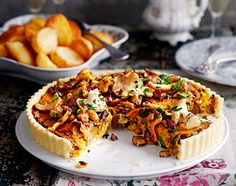 From Jamie Magazine MUSHROOM, CHESTNUT & CRANBERRY TART WITH OLIVE OIL ROASTIES  This tart is delicious and perfect for Christmas. You can make it the day before, then heat through in the oven once the topping, gravy and potatoes are almost ready. If you can't get wild mushrooms, just use more chestnut mushrooms. (gluten free, vegetarian, vegan option)