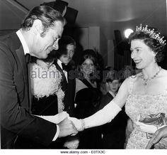 Actor Rex Harrison meets Queen Elizabeth II - Stock Image