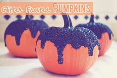 Decorated Glitter Frosted Pumpkin Tutorial for Halloween via Peacoats and Plaid