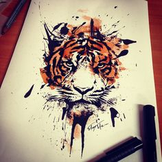 This would make such a cool thigh tattoo.  Watercolor Tiger Tattoo - WeSharePics