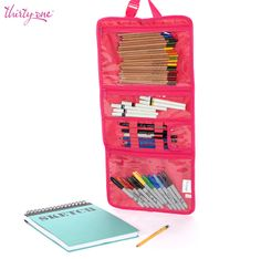 Our Timeless Beauty Bag makes a great on-the-go art kit, keeping colored pencils, markers and brushes organized. Www.amberfriedli.com