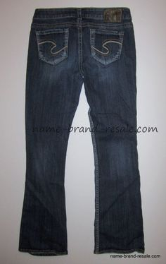 SILVER Jeans AIKO BOOTCUT Womens Juniors 26 x 28 Short Dark Faded ...